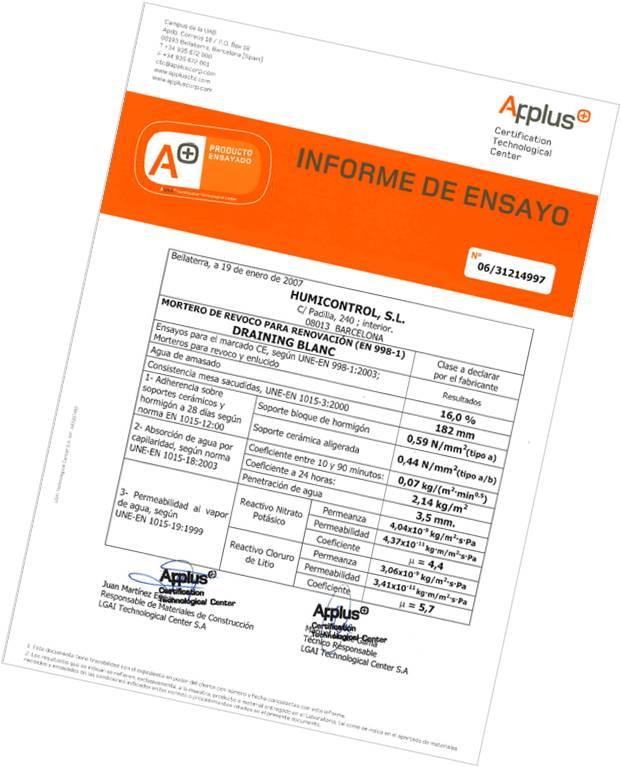 Certificado de calidad mortero DRAINING antihumedades