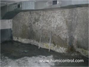 Humedades filtracion de agua en sotano: antes