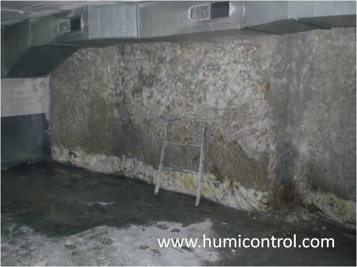 Humedades por filtración de agua en sótanos (antes)